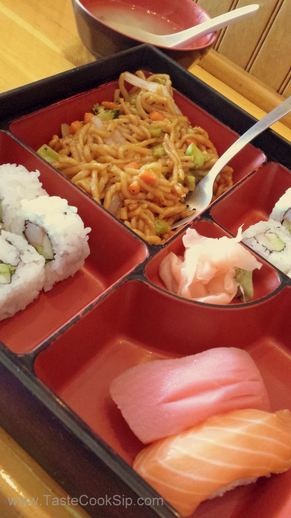 Bento Box C for $8.95 included Soup, a full California roll (8 pieces) Noodles and 1 Ahi and 1 Salmon.