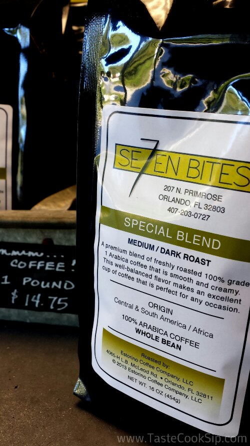 Se7en Bites custom created coffee blend, roasted locally by Estorino Coffee Company.